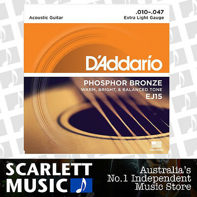 D'Addario EJ15 Phosphor Bronze Extra Light Acoustic Strings 10-47 Daddario EJ-15