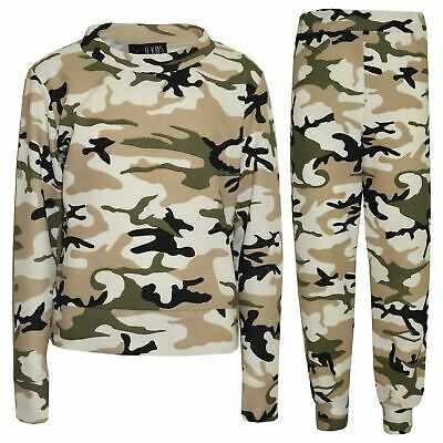 Girls Lounge Suit Kids Camouflage Jogsuit Top Bottom Loungewear Age 7-13 Years