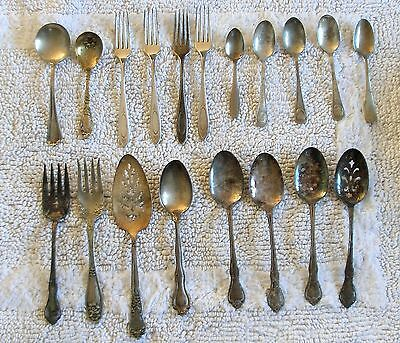 LOT 19 Pcs SILVERPLATE Flatware for CRAFTS Mostly Serving Pieces