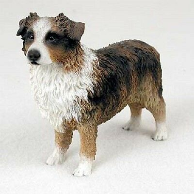 AUSTRALIAN SHEPHERD dog HAND PAINTED FIGURINE Resin RED MERLE AUSSIE puppy