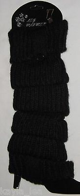 Black Button/Tab Cable Knit Acrylic Leg Warmers Boot Cuff Socks