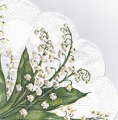 12 Rondo Circular Round  Paper Napkins Festive May Lily of the Valley Rondo