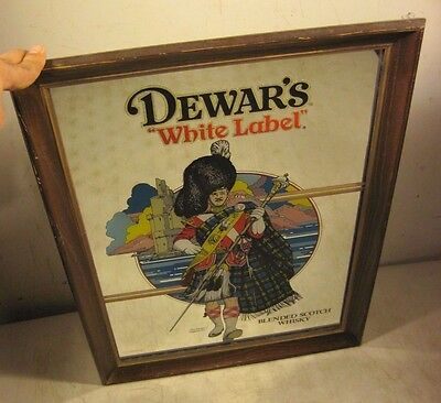 Vintage Dewar's White Label Scotch Whisky Highlander Bar Mirror Advertising
