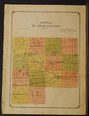Minnesota Mc Leod County Map  1914  Y8#52