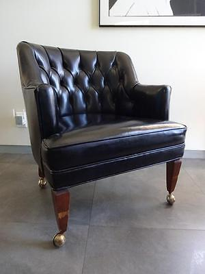VTG MID CENTURY MCM Tufted Black Vinyl & Wood Rolling Chair HOLLYWOOD REGENCY