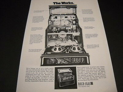 ROCK-OLA 450 Jukebox - a look at the inside workings ORIGINAL 1973 Promo Ad mint