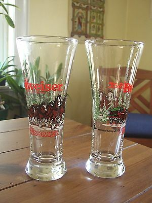 Budweiser Clydesdales vintage Beer Glasses, set of 2, dated 1989