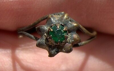 Old Middle Ages Medieval Bronze Ring With Green Gemstone Ring Artifact