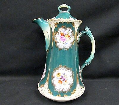 Germany Handpainted Teapot Chocolate Pot  Floral Painted Green Embossed