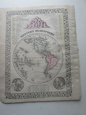 """1884 S. AUGUSTUS MITCHELL ATLAS MAP of WESTERN HEMISPHERE & """"A TIME TABLE"""""""