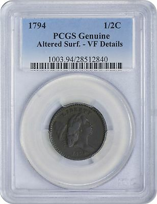 1794 Type Coin Half Cent Geuine (Altered Surfaces- VF Details) PCGS