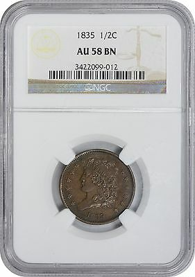 1835 Half Cent AU58 BN NGC Almost Uncircualted 58 Brown