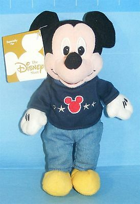 "DISNEY STORE Exclusive TEAM USA MICKEY MOUSE 8"" Plush BEAN BAG TOY New with Tag!"