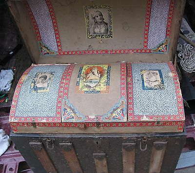 antique hump back trunk with original tray and illustrations