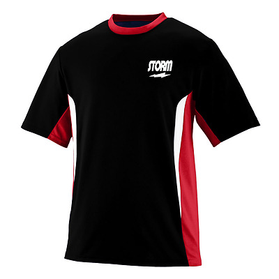 Storm Men's Eraser Performance Crew Bowling Shirt Dri-Fit Black Red