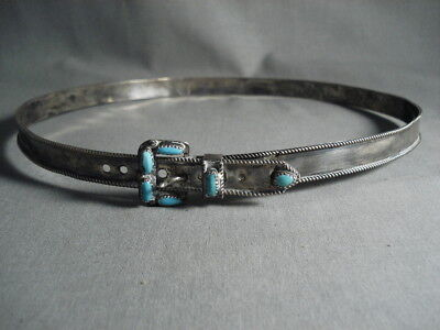 Early 1900's Vintage Navajo Hand Wrought Turquoise Silver Hat Band Concho Belt