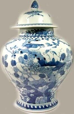 Lg Antique 19thC China Ming Style Blue White Porcelain Jar Birds Butterfly Tree