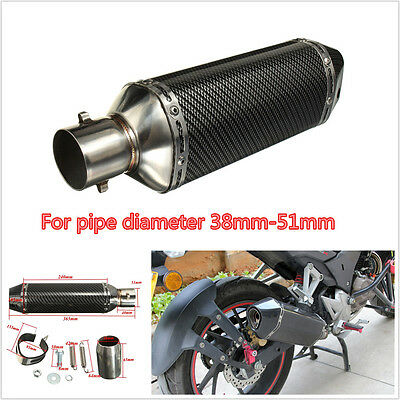 Carbon Fiber 38-51mm Exhaust Muffler Pipe W /Removable DB Killer For Motorcycle