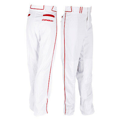 Combat Stock Adult Baseball/Softball Pant with Piping - White/Red - XL