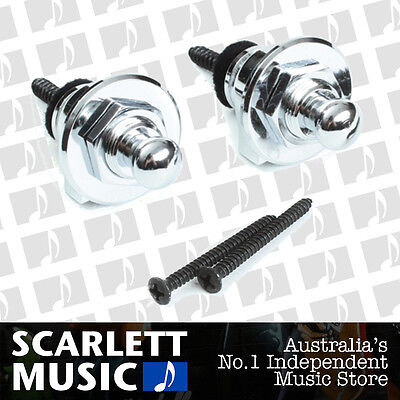 Schaller GENUINE Chrome Strap Locks For Guitar/Bass *BRAND NEW*