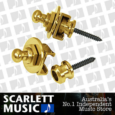 Schaller GENUINE Gold Strap Locks Set For Guitar/Bass *BRAND NEW*