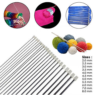 Set of 22Pcs Single Pointed Stainless Sewing Knit Knitting Needles Case 2mm-8mm