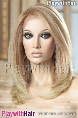 GORGEOUS Textured Lace Front Wig Heat OK Safe Strawberry Blonde Tip
