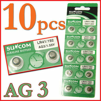 Lots 10pcs AG3 SG3 LR41 192 Alkaline coin Button coin Cell Battery Suncom