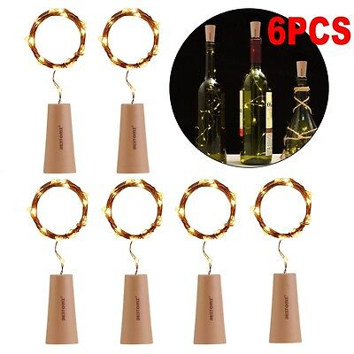 6Pcs 15 LED Cork Shape Starry Night Light Wine Bottle Lamp Easter Wedding