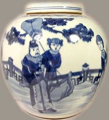 "Antique XL 19thC China ""Ming Style"" Blue + White Porcelain Jar w/ Lid Landscape"