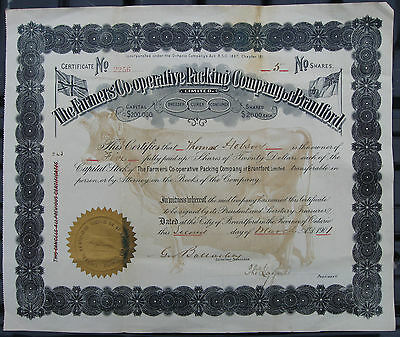 Share Certificate in Farmers Co-Operative Packing Company of Brantford, Ont 1901