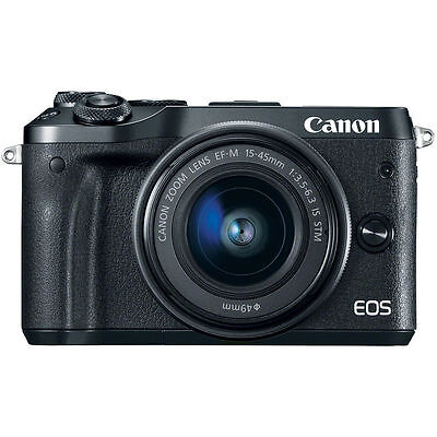 Canon EOS M6 Mirrorless Digital Camera with 15-45mm Lens Black UU