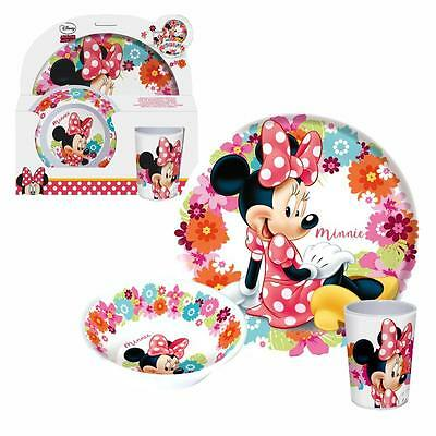Disney Minnie Mouse - Set Tableware - Dinnerware Set Plate, Bowl, Tumbler Bloom