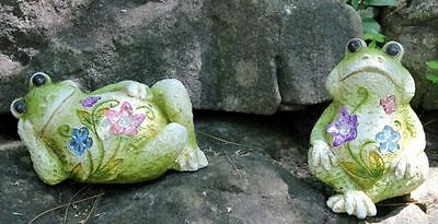 2 FROG FIGURINES RESIN 5.5 in. STATUES HOME DECOR LAWN ORNAMENTS  FROGS NEW