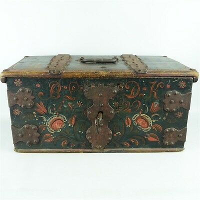 Antique Hand Crafted Swiss Portable Dowry Box Dated 1829 w/ Working Lock & Key