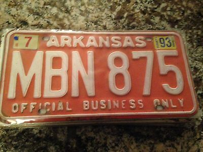 1993 Arkansas Official Business License Plate MBN 875