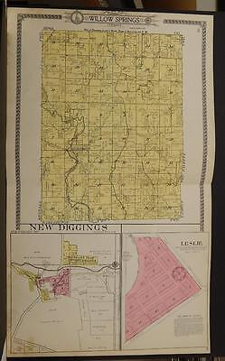 Wisconsin Lafayette County Map Willow Springs New Diggings 1916 Double Pg L6#22