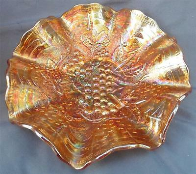 Vintage Imperial Carnival Glass Grape Marigold Ruffled Edge Bowl