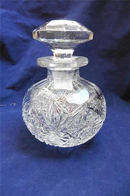 Antique-VTG American Brilliant Cut Crystal Perfume Scent Bottle Fan Star Cut