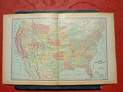 "1889  Original Antique Large Colored Map Of  The United States   Size 21"" X 13"""