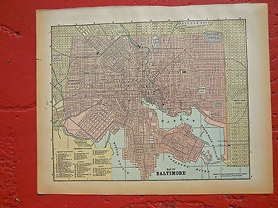 1889 Original Colored Antique Map Of The City Of Baltimore, Maryland.