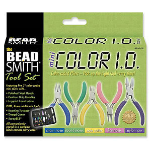 Beadsmith 8 Piece Mini Color ID Jewelry Plier and Cutter Set w Case Craft Tool
