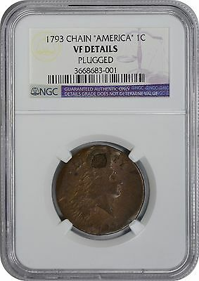 "1793 Large Cent Chain ""America"" VF Details (Plugged) NGC"