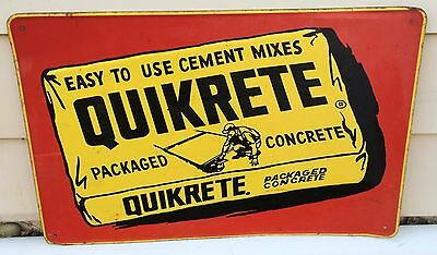 VTG 1960s QUIKRETE CEMENT CONCRETE EMBOSSED METAL STORE ADVERTISING SIGN 28x18