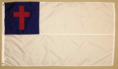 Christian Cross Indoor Outdoor Sewn Nylon Flag Grommets Made in USA 3' X 5'