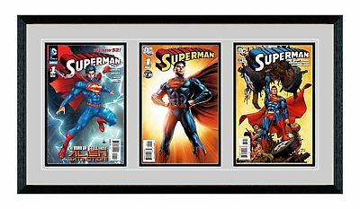 Triple Comic Book Glass Frame - Real Wood / Matting and UV Protected Glass