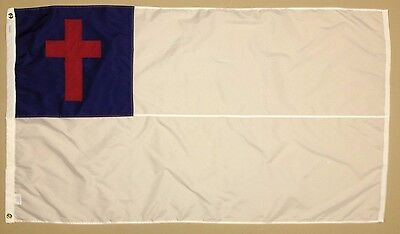 Christian Cross Indoor Outdoor Sewn Nylon Flag Grommets Made in USA 6' X 10'
