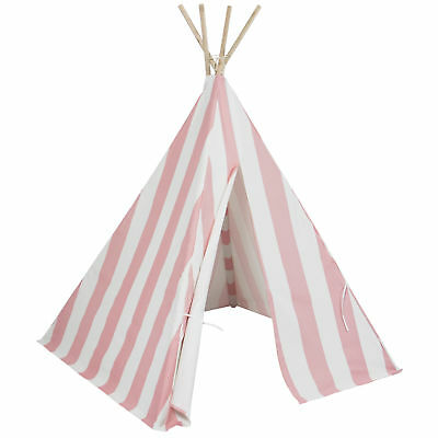Best Choice Products Kid's Teepee Tent Playhouse, White W/ Pink Stripes