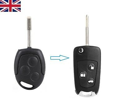 NEW Ford Mondeo Fiesta Focus Ka Transit 3 button Conversion Flip Key Fob & Blade