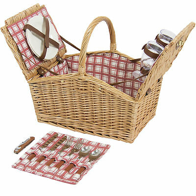2-Person Wicker Double Lid Picnic Basket W/ Flatware, Glasses, Plates- Red/White
